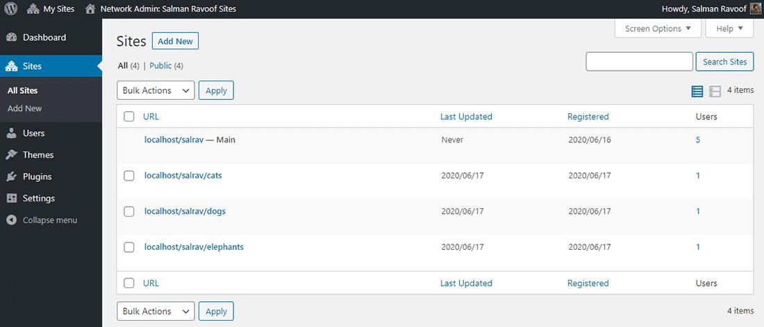 Le panneau «Sites» dans un réseau WordPress multisite