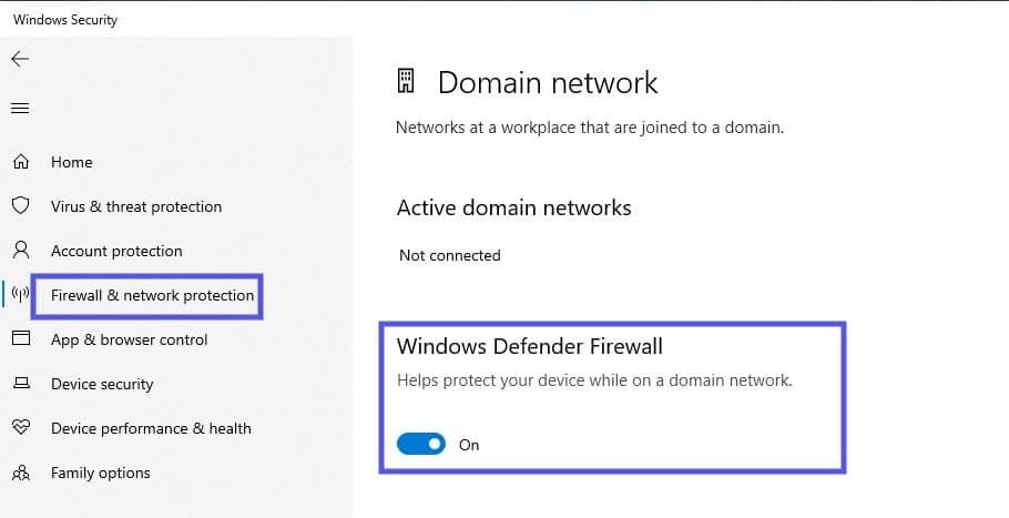 Le pare-feu Windows Defender