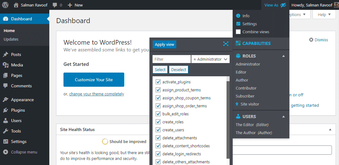 Personnalisez temporairement les permissions pour votre utilisateur actuel