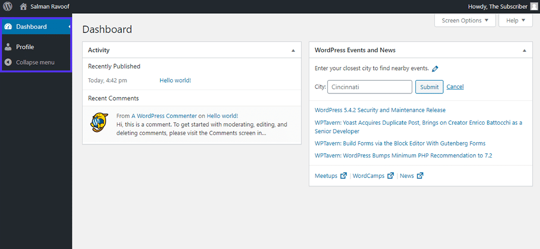 Le tableau de bord du rôle d'«abonné» dans WordPress