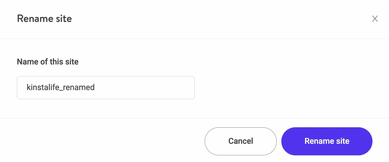 Choisissez un nouveau nom d'affichage pour votre site Kinsta.