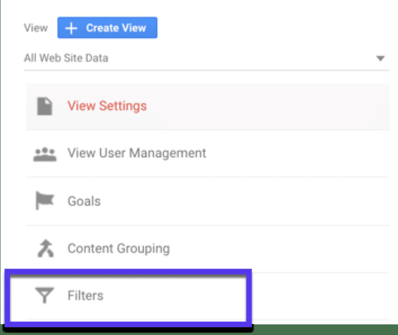 Créer un filtre dans Google Analytics