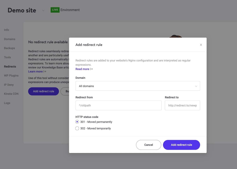 Créer des redirections dans MyKinsta