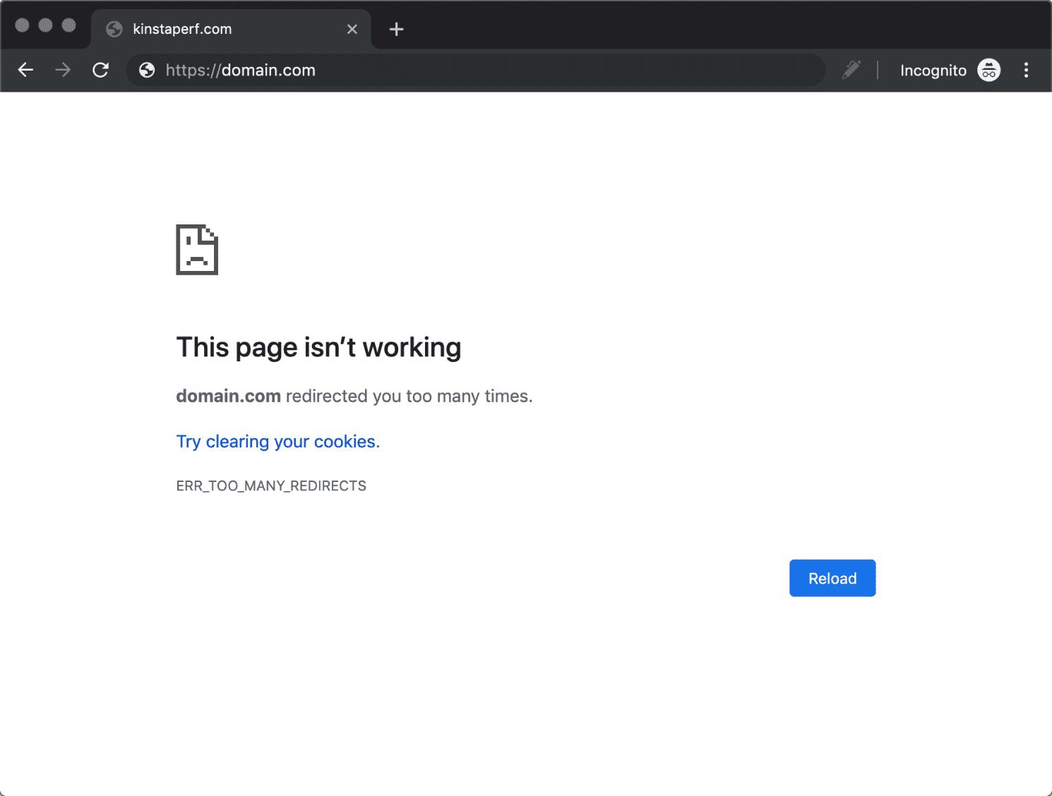 ERR_TOO_MANY_REDIRECTS dans Google Chrome