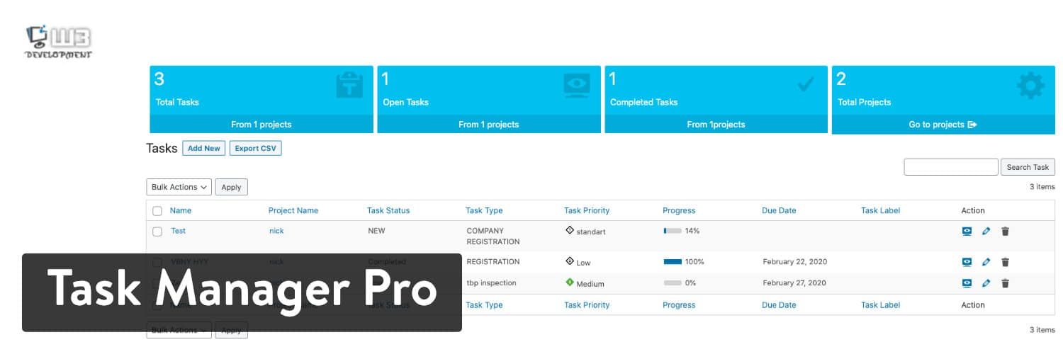 Extension WordPress Task Manager Pro