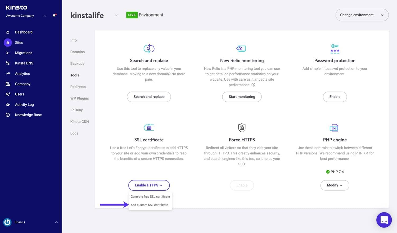 Installez le certificat SSL sur WordPress.