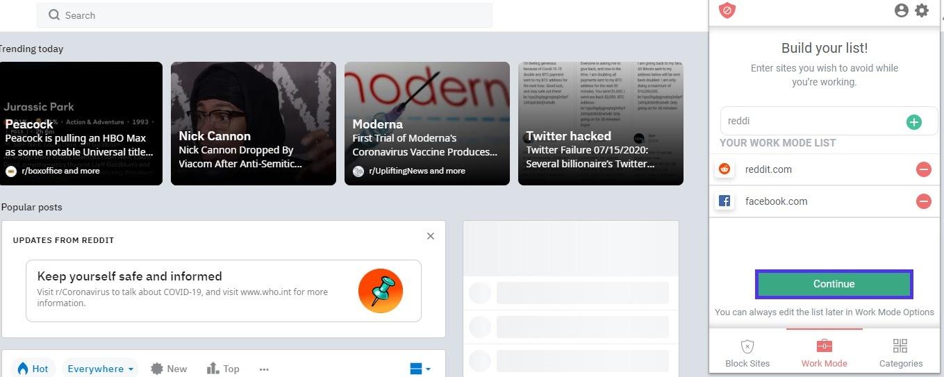Ajout de sites au mode de travail sur BlockSite