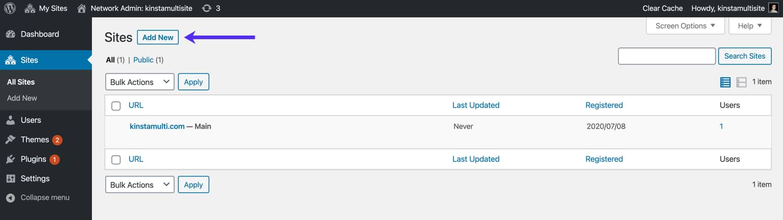 Ajouter un nouveau sous-site WordPress.