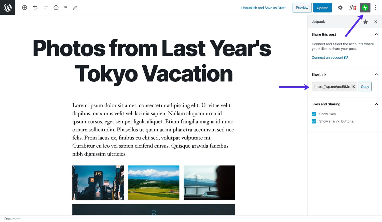 Ajoutez une prise en charge des liens courts à vos articles avec Jetpack.
