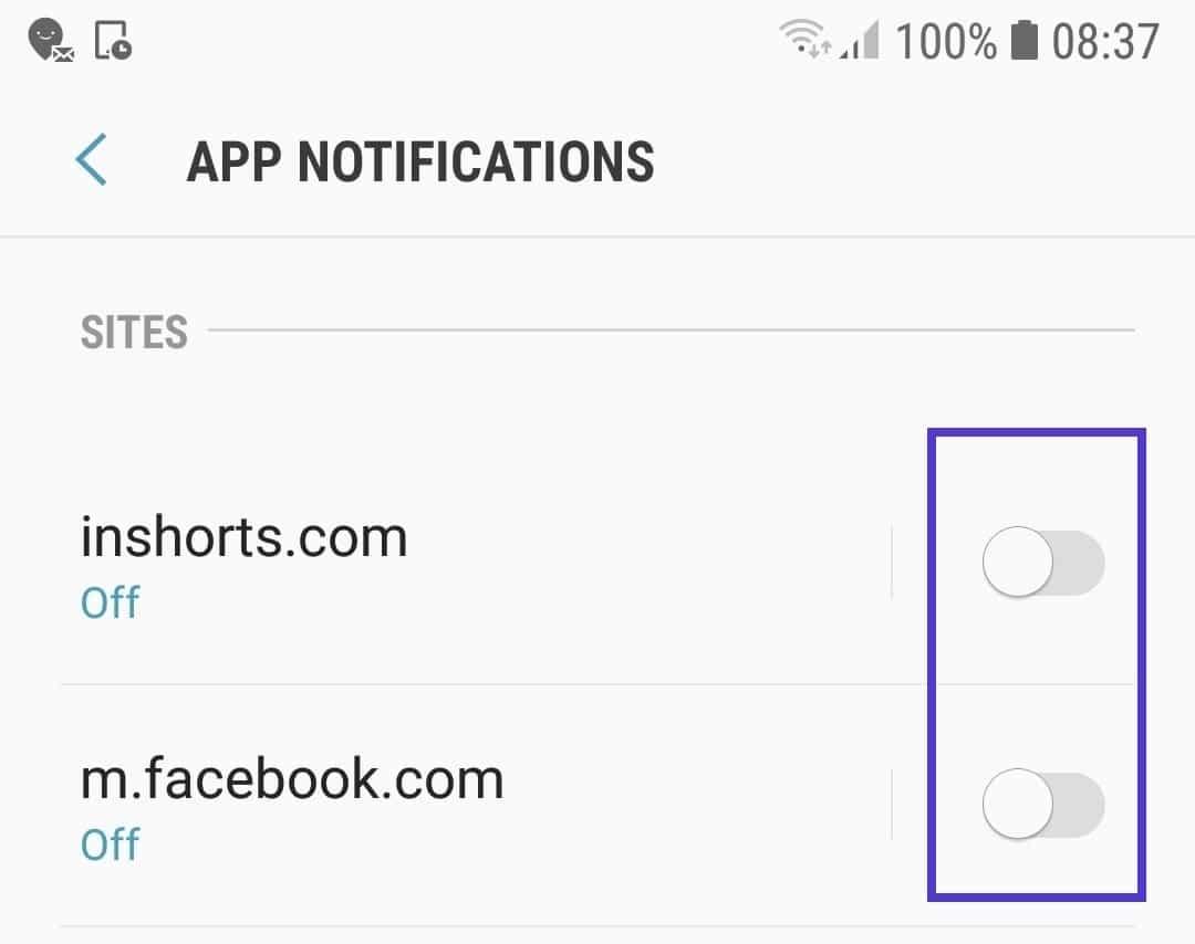Blocage des notifications de sites web spécifiques