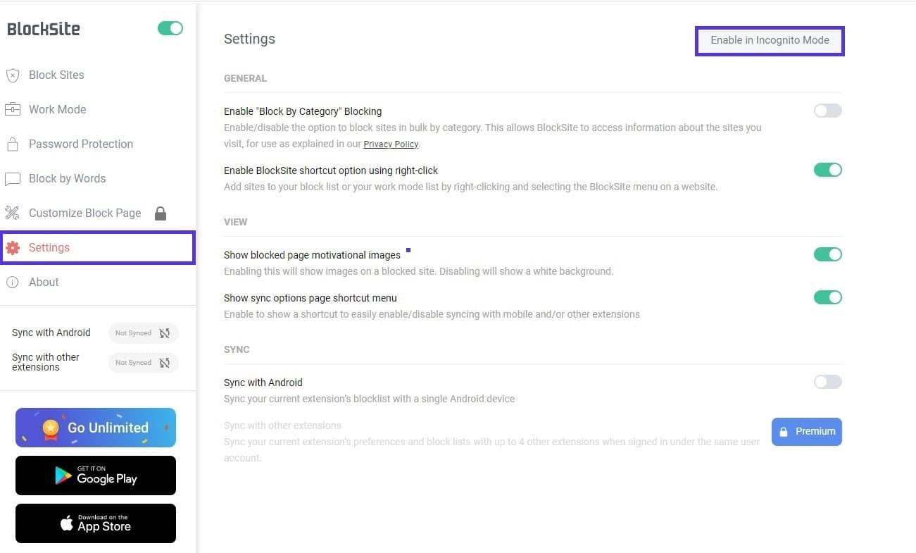 BlockSite activé en mode incognito