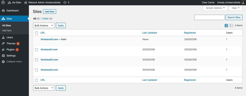 Une configuration WordPress multi-site avec trois sous-sites.