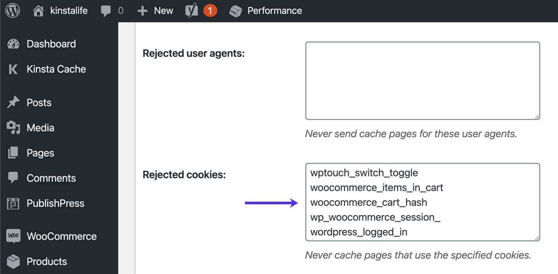 Contourner les cookies WooCommerce dans W3 Total Cache.