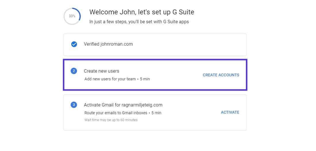 Créer de nouveaux utilisateurs G Suite