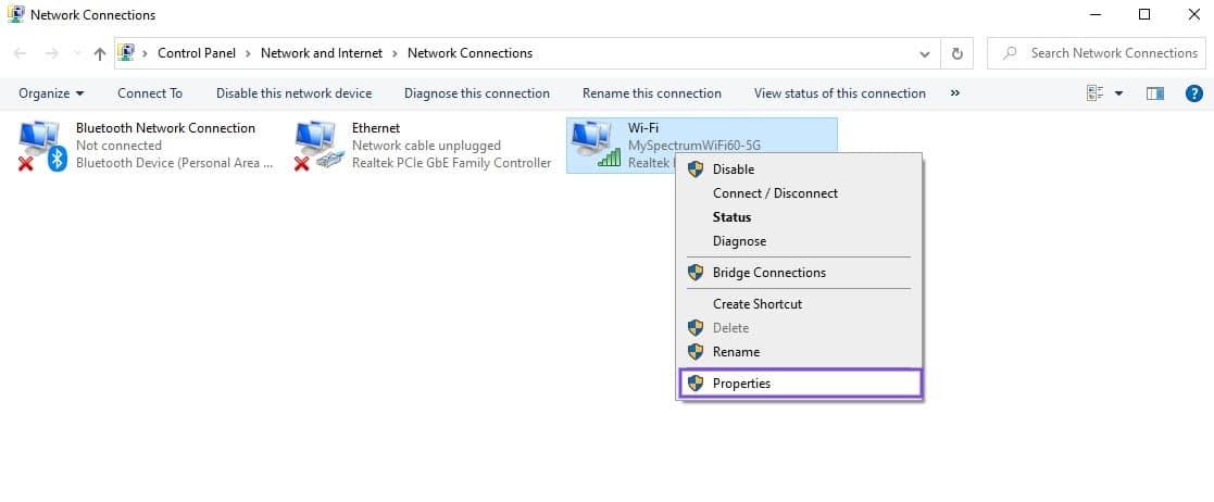 L'élément de menu Propriétés de la connexion réseau dans Windows