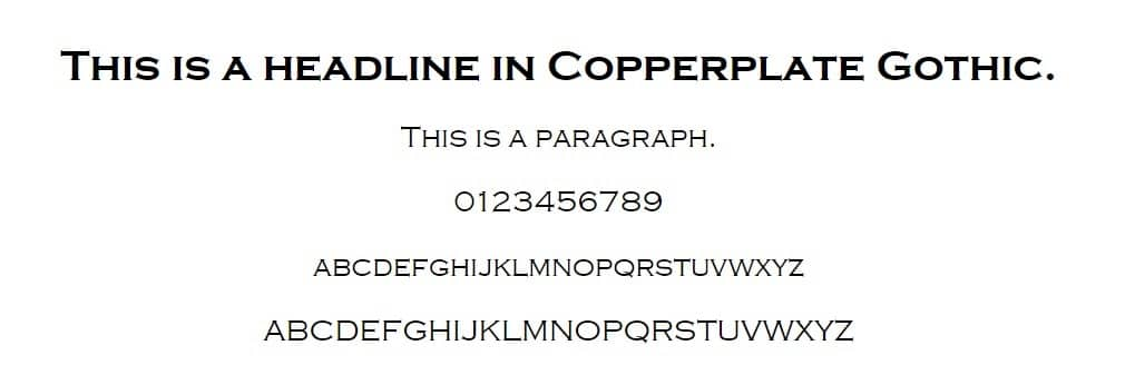 Exemple de police de Copperplate Gothic