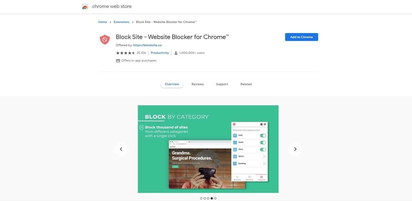Extension de bloqueur de site web pour Chrome