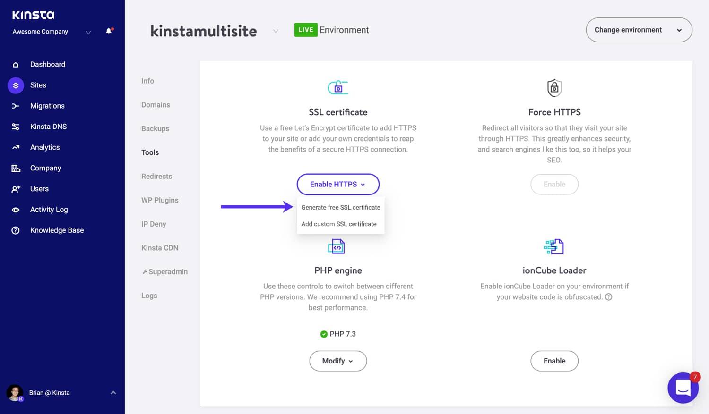 Générez un certificat SSL gratuit pour votre WordPress multi-site.