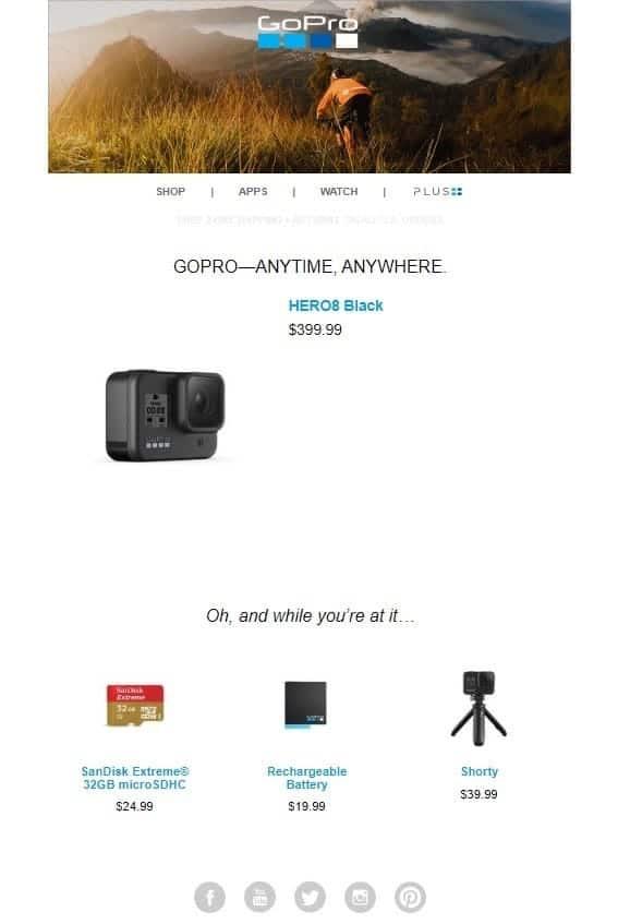 GoPro - exemple d'e-mail de panier abandonné