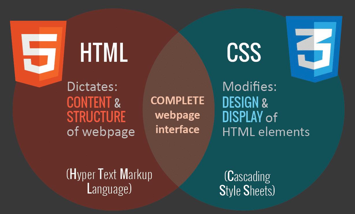 HTML vs CSS (Source de l'image : codingdojo.com)