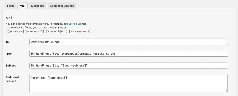 Onglet E-mail dans les formulaires de contact