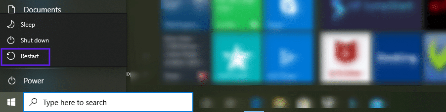 L'option de redémarrage de Windows