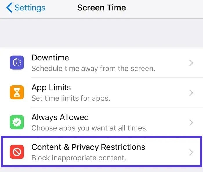 Réglages de l'iPhone - contenu et vie privée