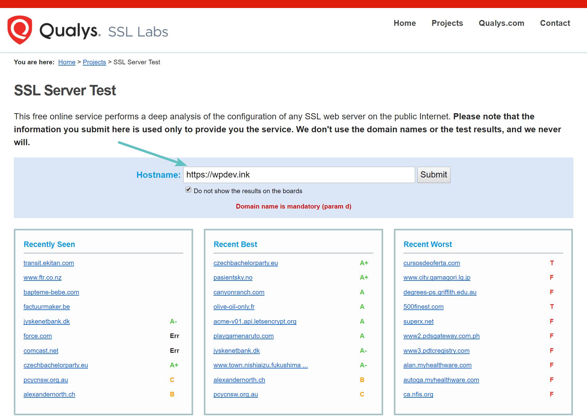 Vérifier le certificat SSL
