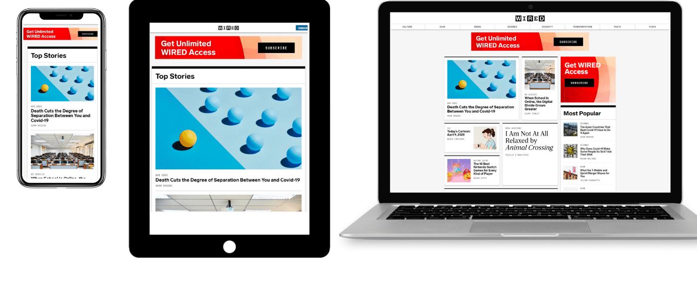 Wired sur mobile, tablette et ordinateur portable