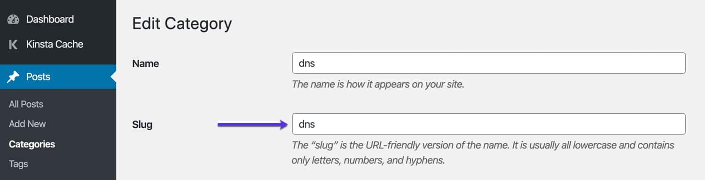 Editer le slug de la catégorie WordPress.