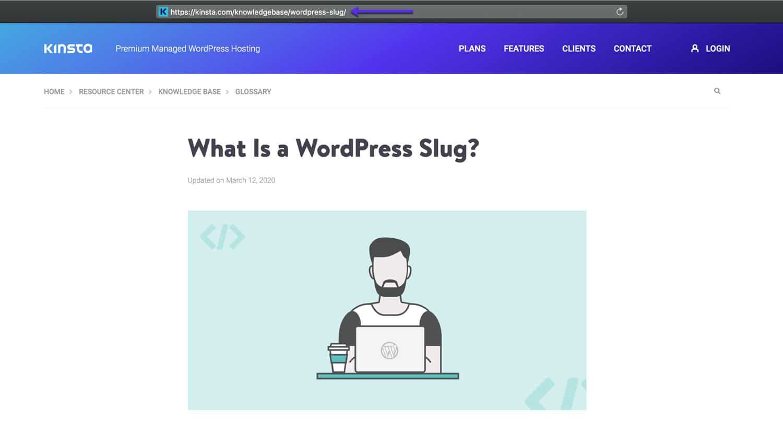Slug de WordPress dans le navigateur.