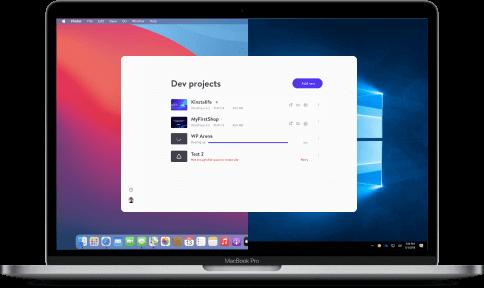 DevKinsta in esecuzione su un portatile