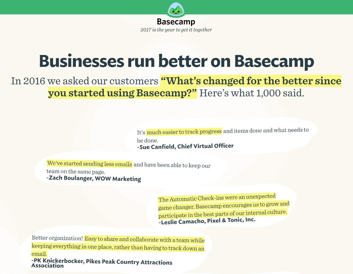 prova sociale del Basecamp
