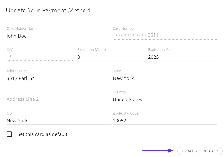 Aggiornare i dati della carta di credito