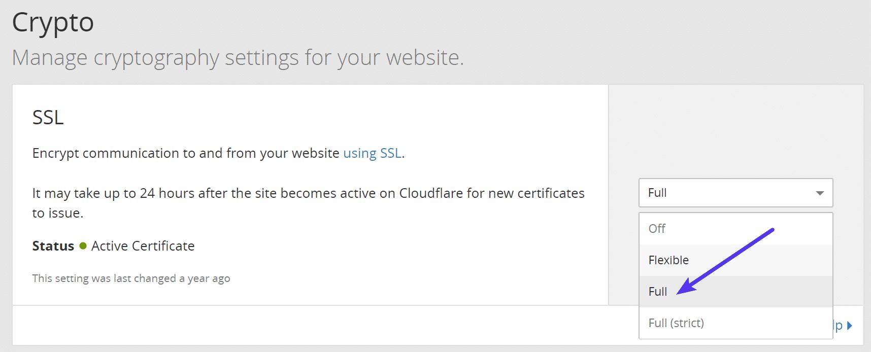 Impostare il livello di crittografia di Cloudflare a full