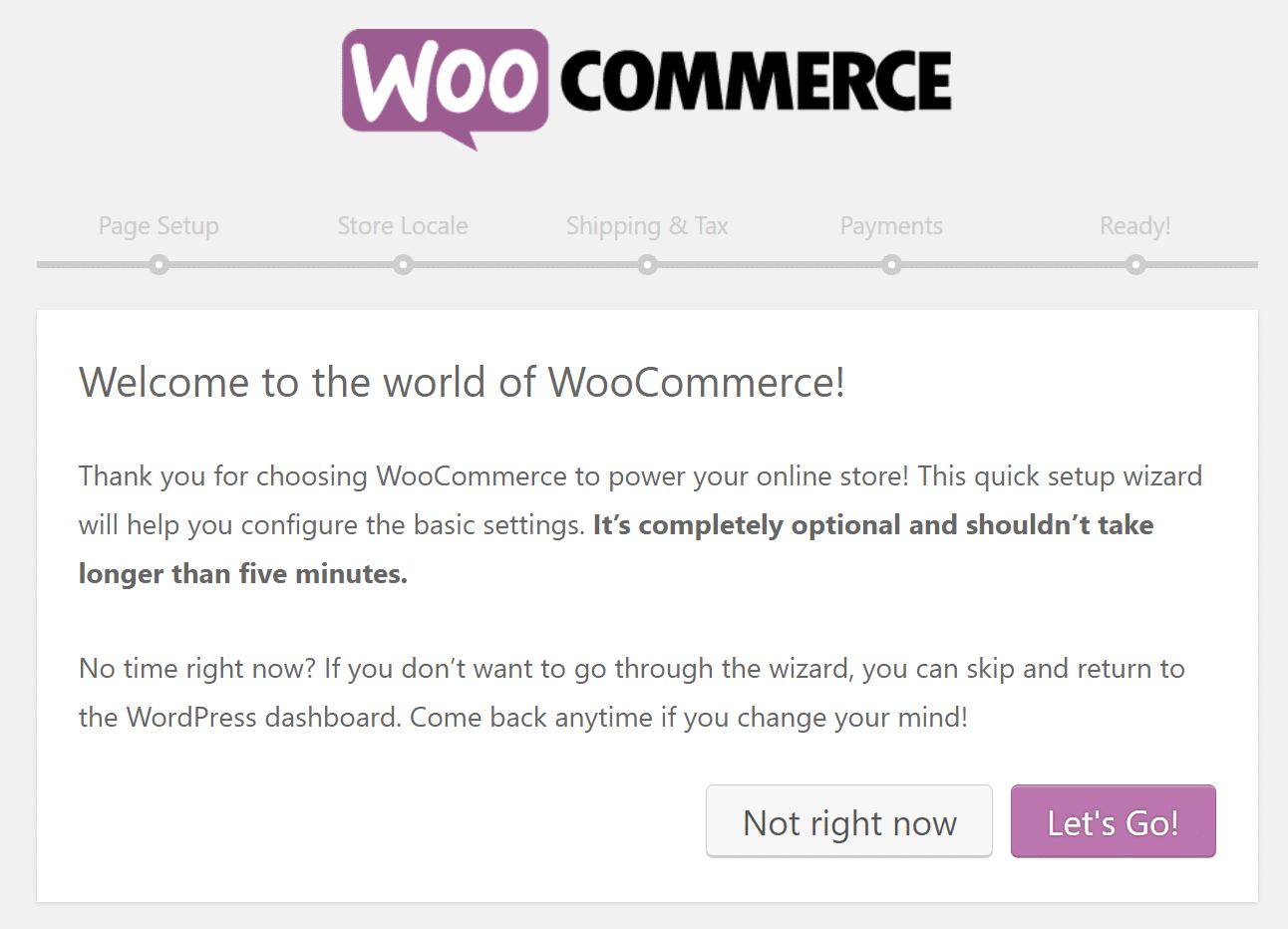 Schermata di benvenuto di WooCommerce