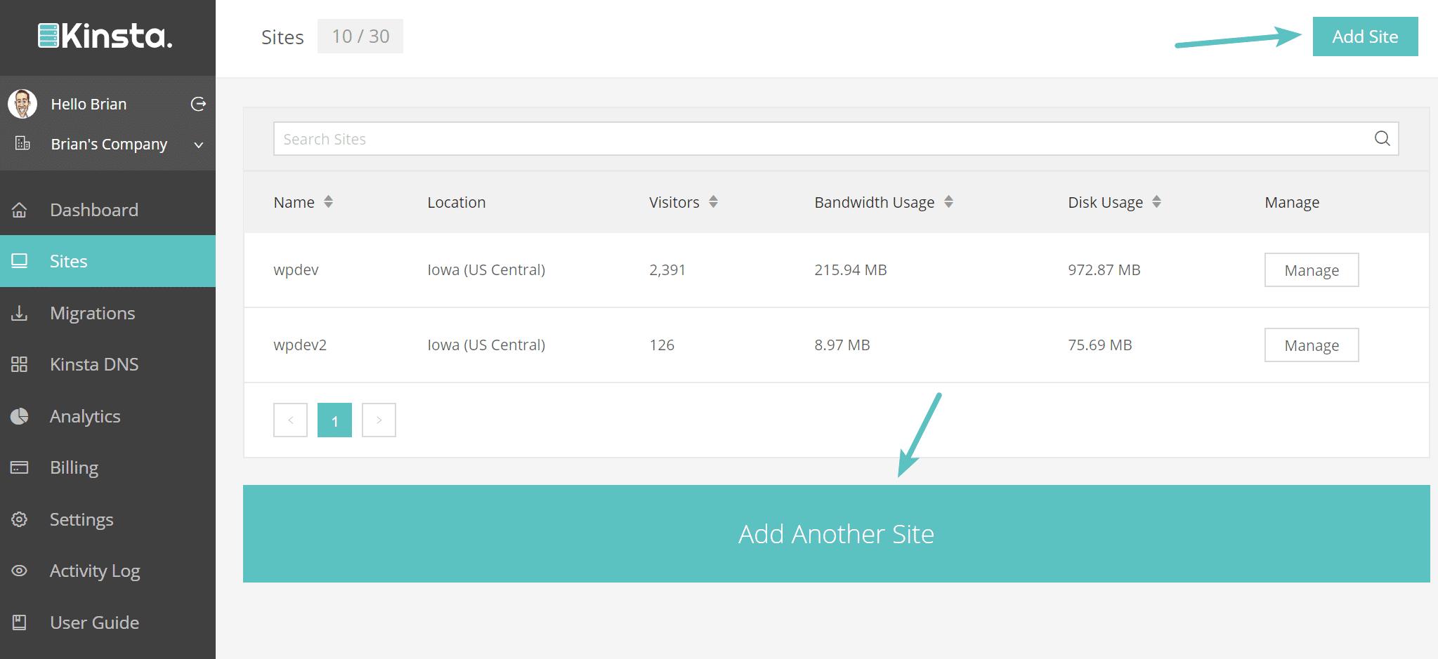 Aggiungere un nuovo sito