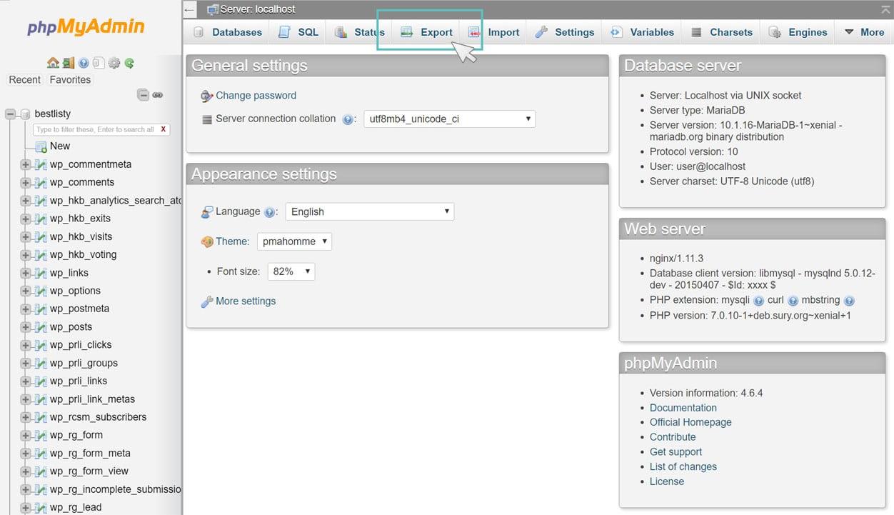 Esportare il database in phpMyAdmin