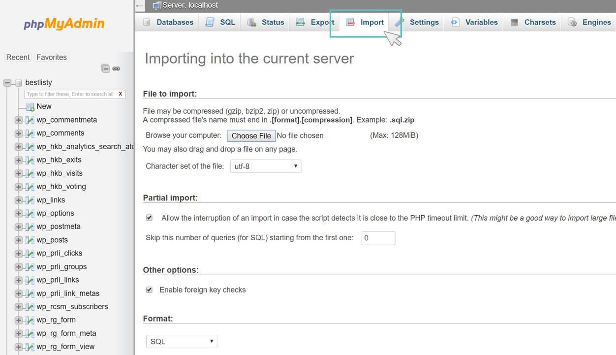 Migrazione WordPress - Importare il database in phpMyAdmin