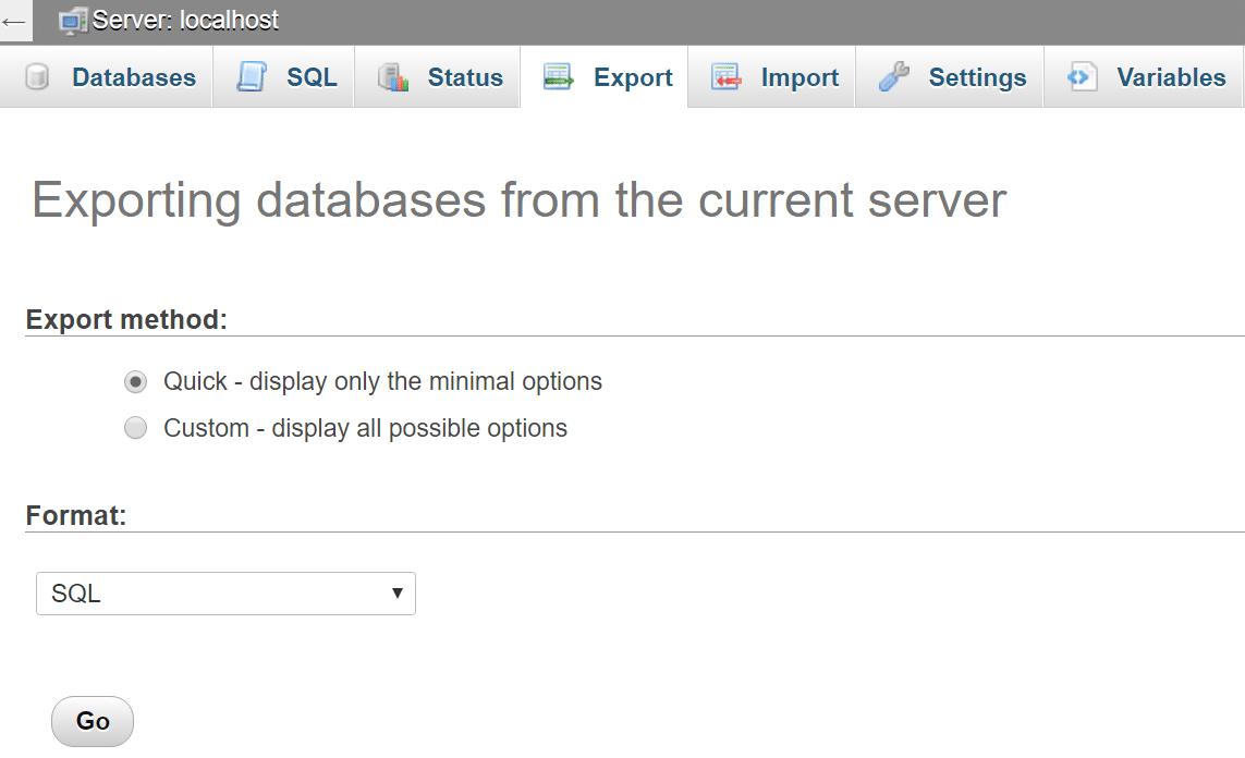 Salvare il file SQL