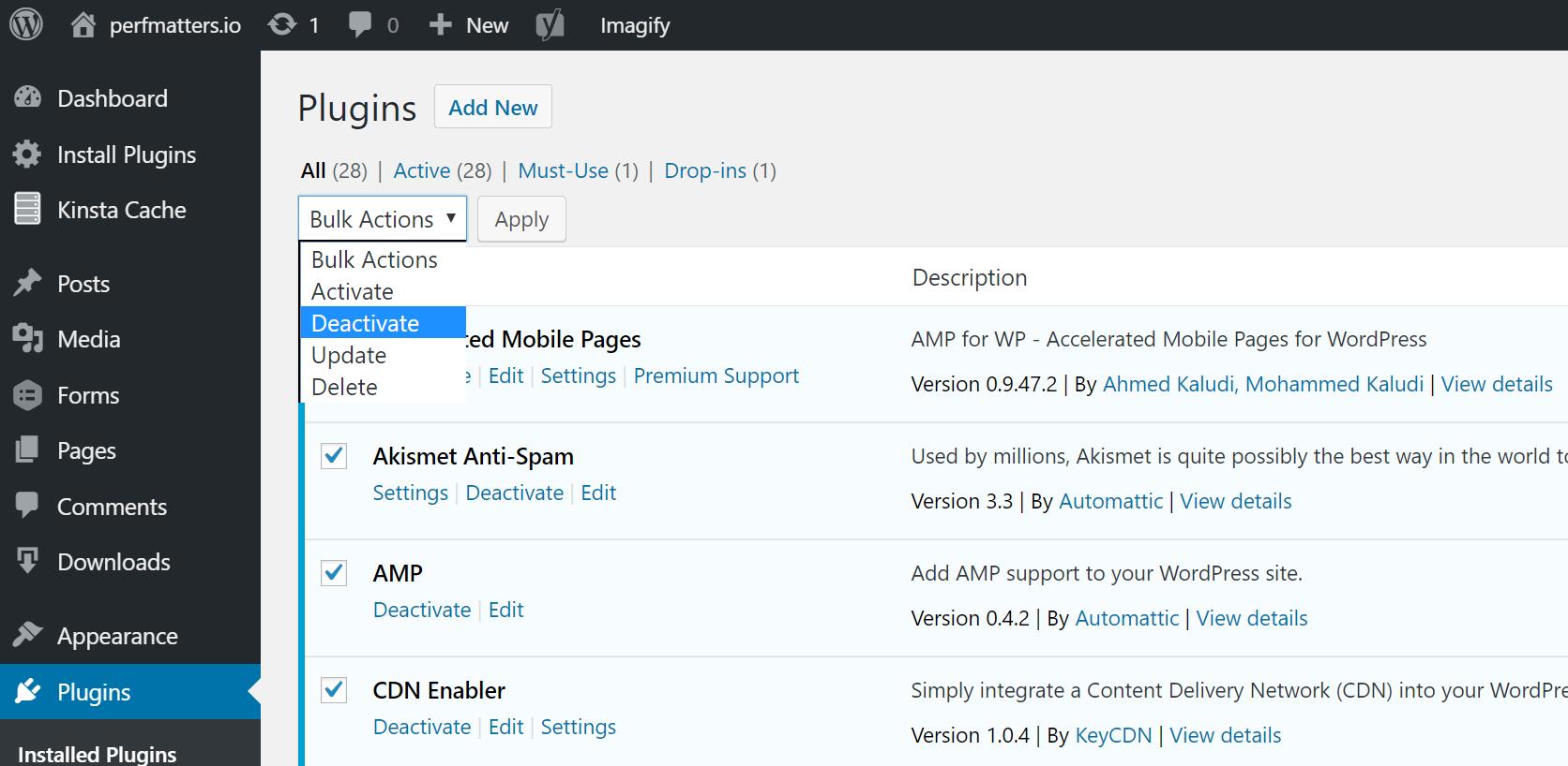 Disattivare tutti i plugin di WordPress
