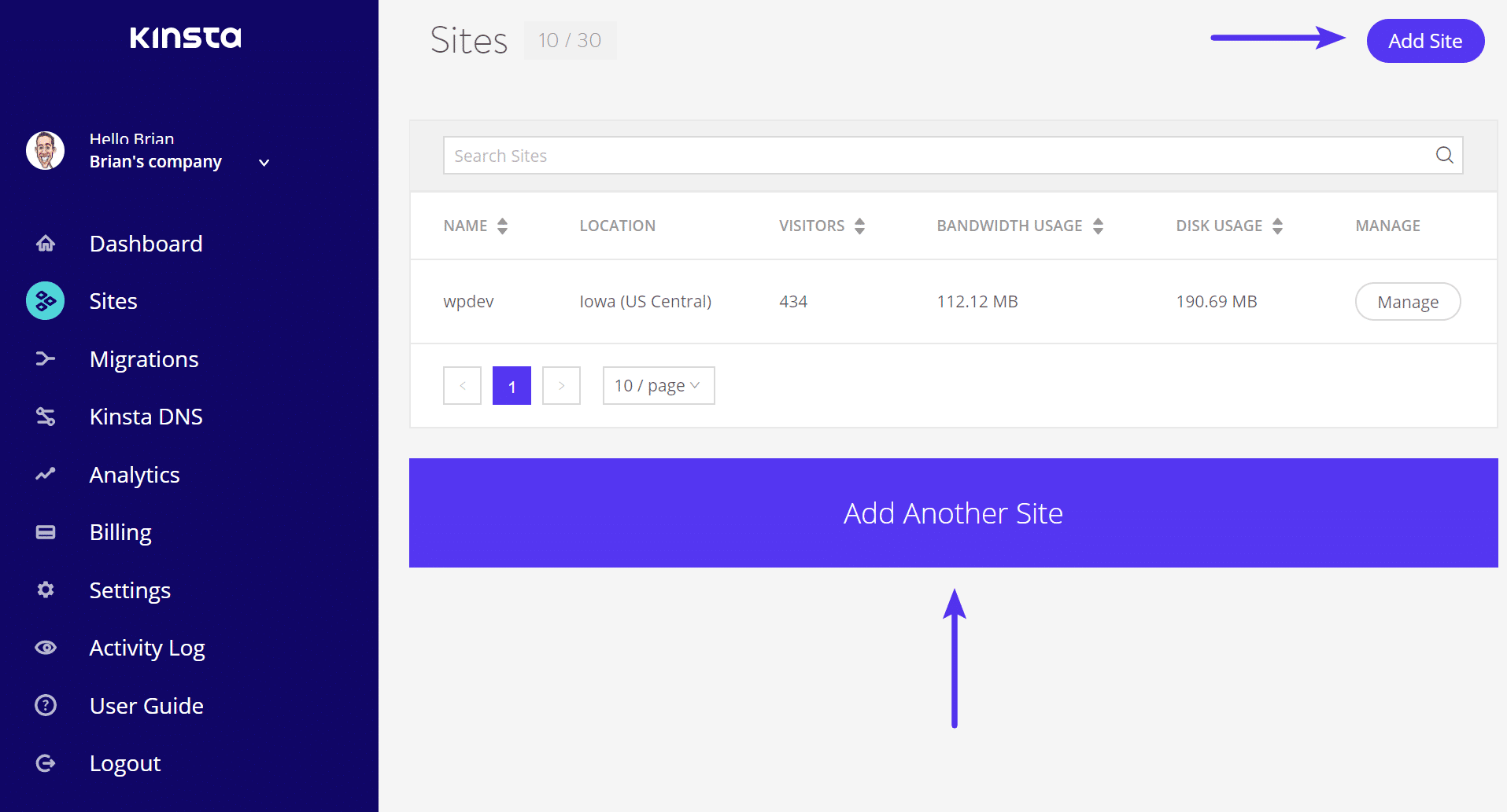 Aggiungi site