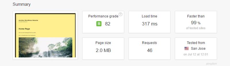 Speed test di Pingdom con il plugin BJ Lazy Load