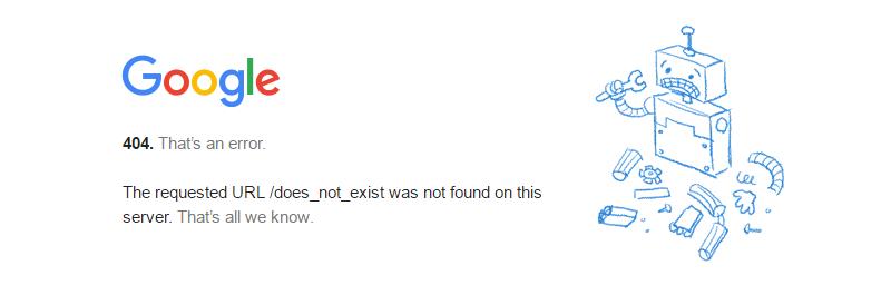 Codice di stato HTTP 404 di Google