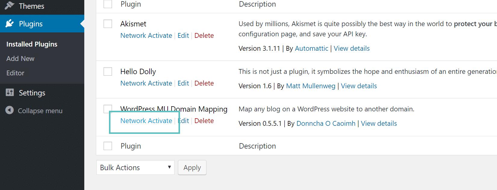 Attivare i plugin sul network su Multisite mappatura domini