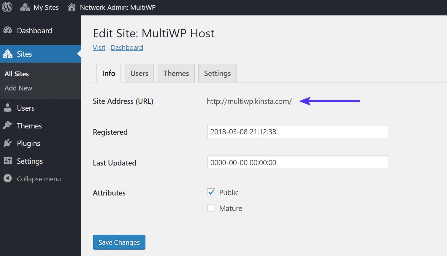 Indirizzo URL sottosito principale di WordPress multisite