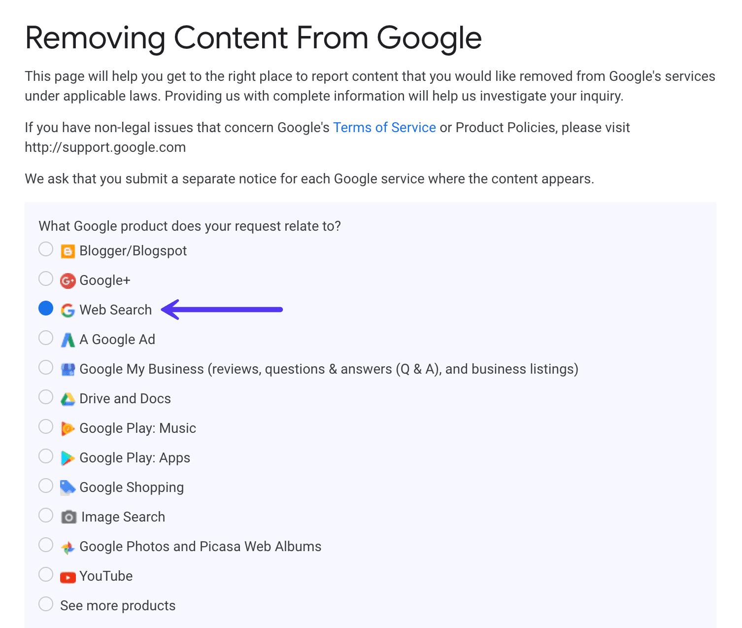 Rimuovere contenuti da Google search