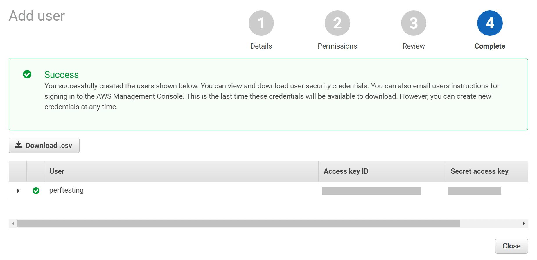 Chiave di accesso AWS