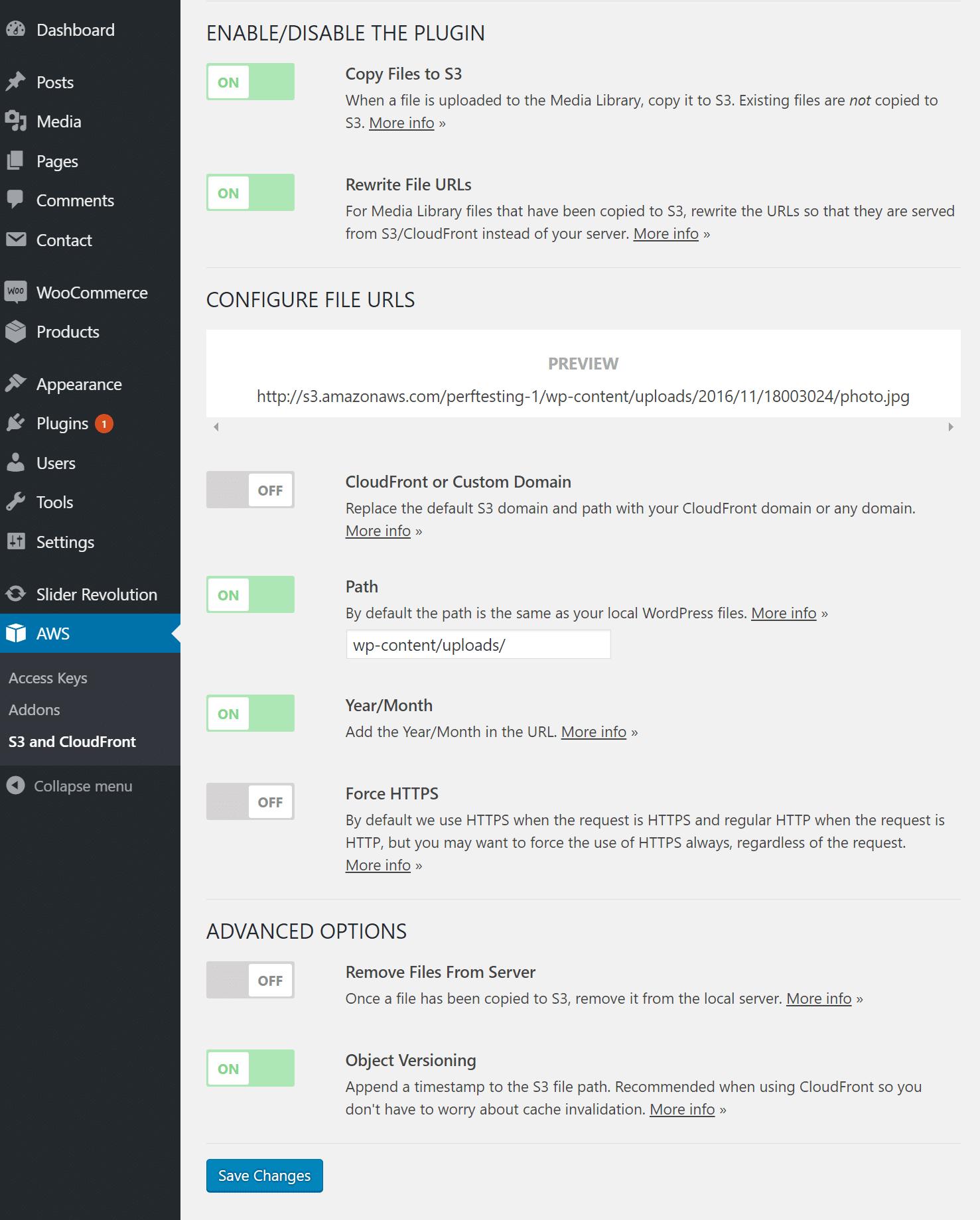 Impostazioni del plugin AWS