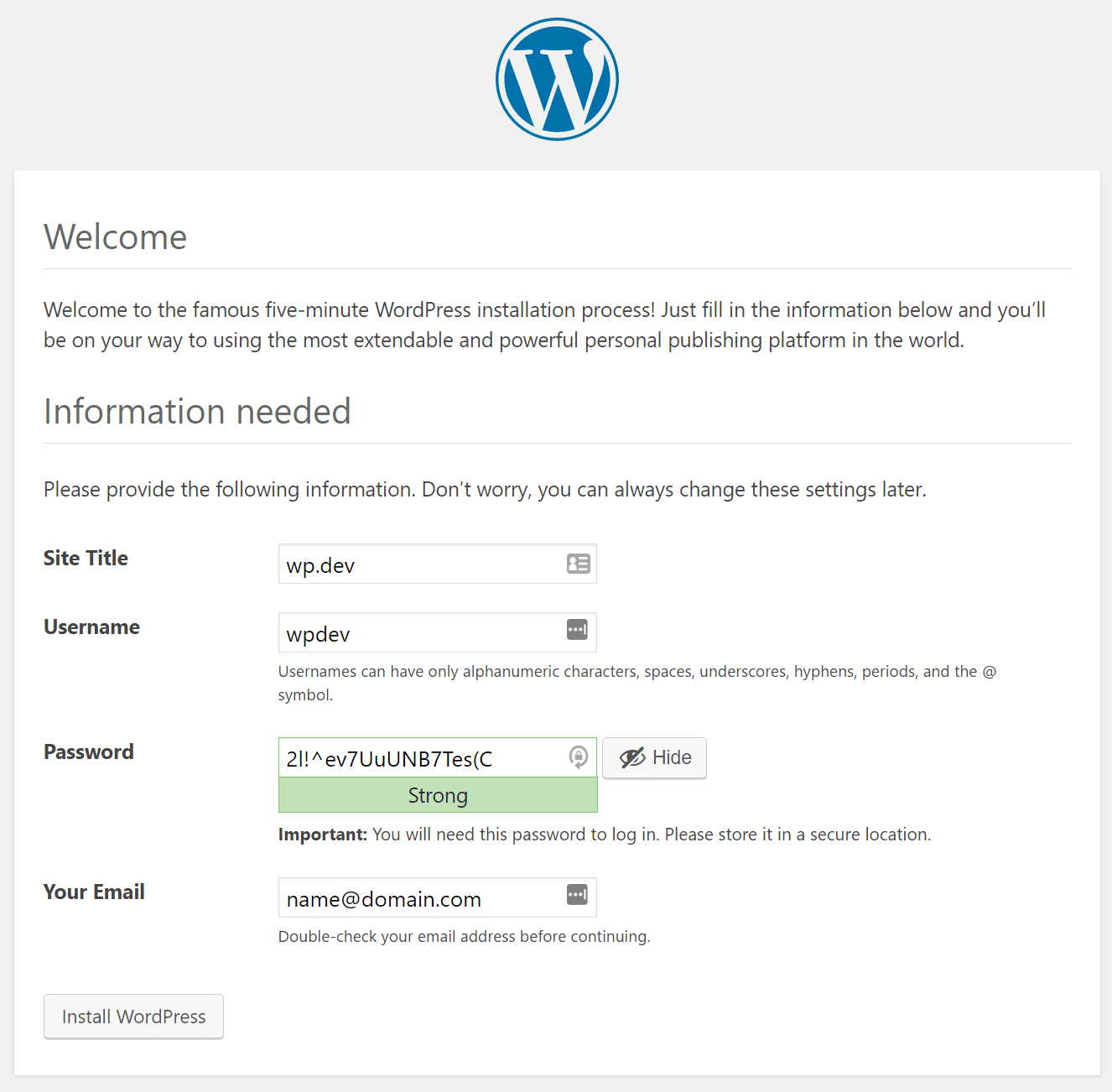 Installazione di WordPress